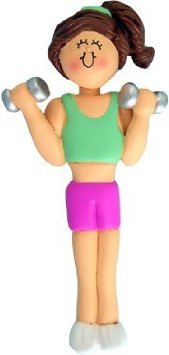 Female Girl Weightlifter Weight Lifter Gym Workout Ornament Gift