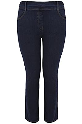 Yoursclothing Plus Size Womens Indigo Pull On Straight Leg Jeans
