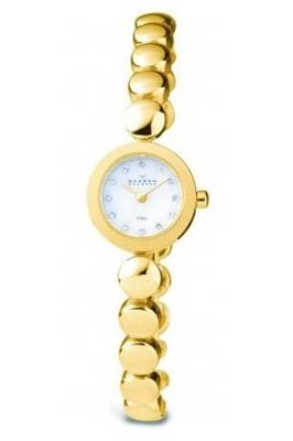 Skagen Ladies Watch 107XSGXG with Gold Stainless Steel Bracelet and Mother Of Pearl Dial