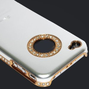 Luxury Unique Best Bling Crystal Rhinestone Aluminum Case Cover For iPhone 4 4S Verizon AT&T Silver