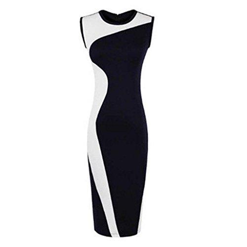 Goldensat Women Black White Geometry Printted Pencil Dress L White Black