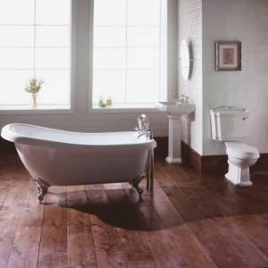 Trueshopping Traditional Bathroom Slipper Bath Suite including Bath Basin And Toilet WC set Ball Claw Chrome