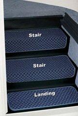 RV Landing Step Rug Set Motorhome Stairs Covers Rug Mats Ocean Blue (Complete Set)