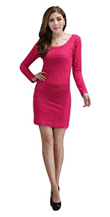 Demarkt New Women's Chic One-piece Design Long Sleeves Dress Round Neck Soft Wave Pleated OL Mini Dress Cocktail Club Party Costume Wear Above Knees Rose Red Size M