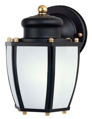 Westinghouse Lighting 6451600 Energy Star One-Light Exterior Wall Lantern with Dusk to Dawn Sensor, Matte Black Finish on Steel