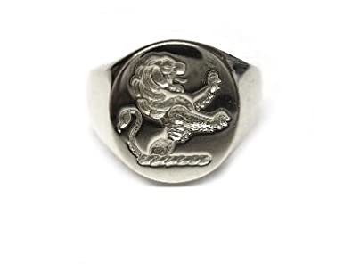 Bickerton Jewellery New Sterling Silver Solid Men's FAMILY CREST RAMPANT LION Seal Style Signet Ring. Excellent quality.