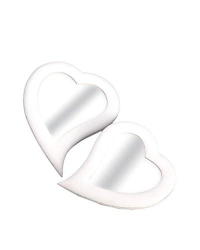 Amadeus Set x 2 Espejos Corazón Blanco