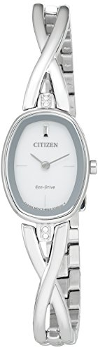 Citizen Eco-Drive Women's 'Silhouette' Quartz Stainless Steel Casual Watch, Color: Silver-Toned (Model: EX1410-53A)