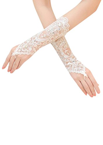 Dearta Women's 2015 Wedding Accessories Lace Exquistite fingerless Bridal Gloves (White)