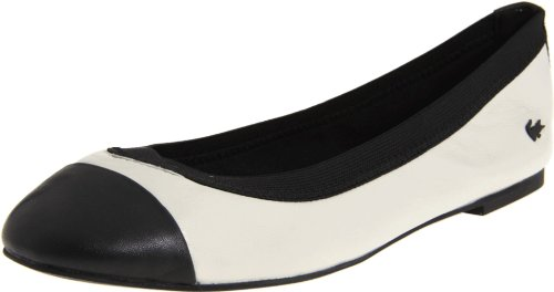 Lacoste Women's Constance Flat,Off White/Black,9.5 M US