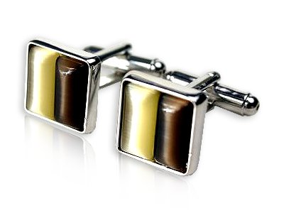 Elegant Brown and Gold Square Cufflinks Framed in Silver with Gift Box