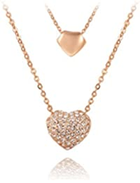 Carina Adore 18K Rose Gold Stud Heart Pendant With Chain For Women / Girls