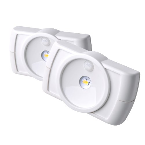 Mr. Beams MB852 Indoor Wireless Slim LED Light with Motion Sensor Features, White, 2-Pack