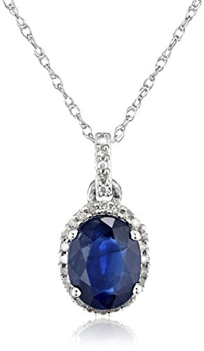 10k+White+Gold+Necklace+all-natural+Blue+Sapphire+Diamond+Pendant+18+