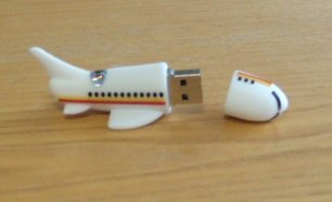 4GB White Aeroplane Novelty USB Flash Drive from OEM