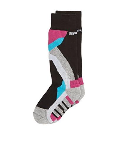 Spaio Calcetines Kids Ski Cotton 01 Negro / Gris / Fucsia