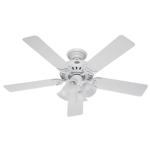 Hunter 20181 52-Inch Studio Series Ceiling Fan White with Bleached Oak Blades