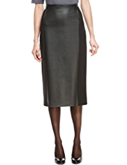 M&S Collection Faux Leather Front Ponte Pencil Skirt