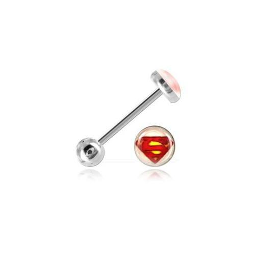 Barbell di lingua acciaio Logo Superman Bianco-a cerchio/Asta 1.6mm, Tagliapiastrelle Int. 16mm, elemento 6-7mm