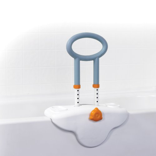 Drive Medical Michael Graves Clamp On, Height Adjustable Tub Rail with Soft Cover, Soap and Shampoo Dish