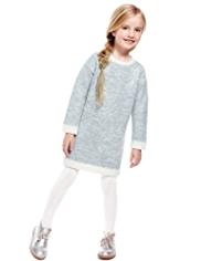Embroidered Snowflake Knitted Dress with Tights