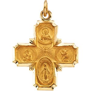Clevereve's 14K Yellow Gold 18.00X18.00 mm 4-Way Cross Medal