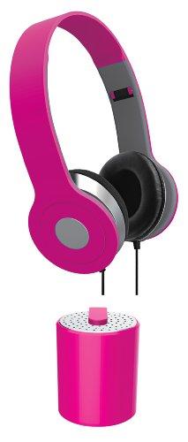 Vibe Sound Vs-Btaub-Pnk Stereo Headphones And Mini Bluetooth Audio Combo Kit, Black