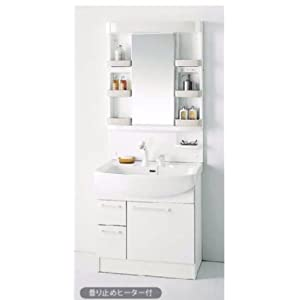 【クリックでお店のこの商品のページへ】ノーリツ 洗面化粧台 シャンピーヌ 幅750 引き出しタイプ ホワイト シングルレバーシャワー LED1面鏡 LSAM-7VLSH + LSAB-71AWN1B 75cm 洗面台