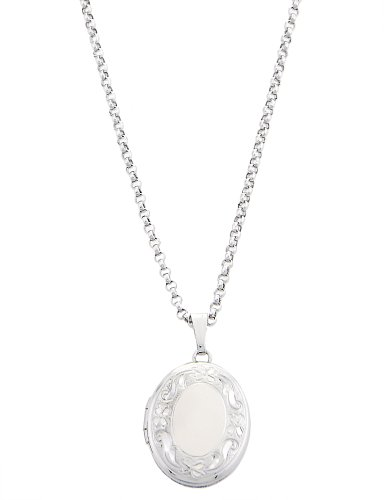 Silver Child Size Oval Locket with Engravable Center Necklace