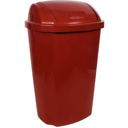 Hefty 13.5 Gallon Swing Lid Trash Can, Red (Swing Garbage Can compare prices)