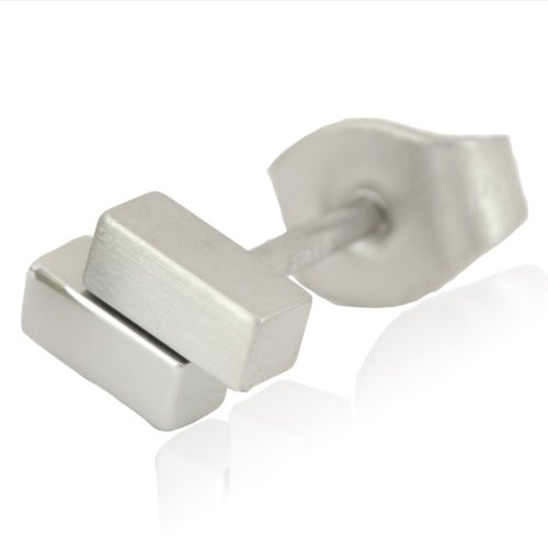 Stainless Steel Bricks Shape Single Stud Earring, THIS IS A SINGLE EARRING!