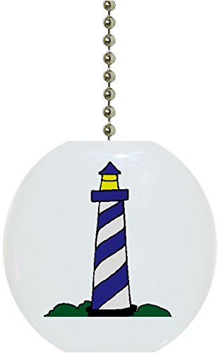 Carolina Hardware and Decor 1270F Blue Lighthouse Ceramic Fan Pull (Lighthouse Fan Pulls compare prices)