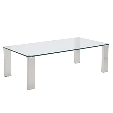 Eurostyle Beth Rectangular Glass Coffee Table in Clear
