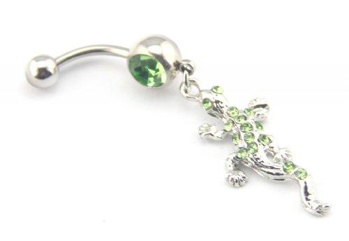 Baqi Lovely Green Crystal Gem Stud Gecko Lizard Dangle Belly Ring Bar Navel Barbell 14G Green