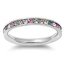 buy Stainless Steel Eternity Multi-Color Cz Wedding Band Ring 3Mm (Size 4-10) ; Comes With Free Gift Box (4)