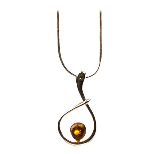 Sterling Silver Honey Amber Cute Necklace