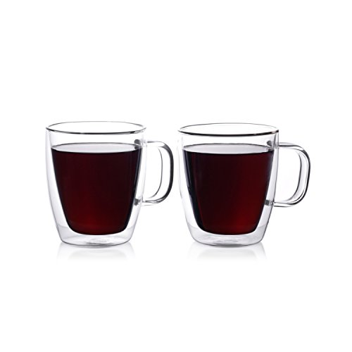 Eparé 12 oz Strong Double Wall Insulated Borosilicate Thermo Glass Mug for Coffee Tea (Set of 2) (Double Wall Cup compare prices)