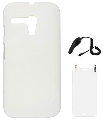 DMG Hard Back Protective Cover Case for Motorola Moto G XT1032 (White) + Car Charger + Matte Screen