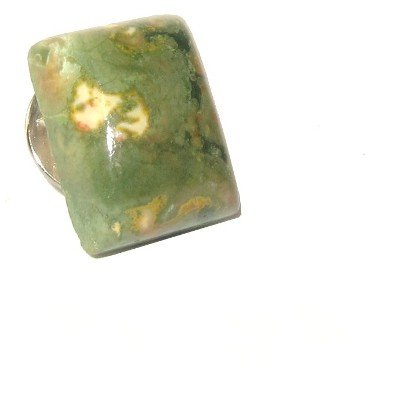Rhyolite Pin 01 Crystal Brooch Green Stone Rectangle Healing Gem Energy