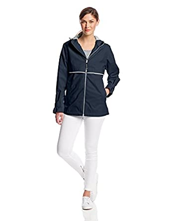 Charles River Apparel Women's Waterproof New Englander Rain Jacket, Navy/Reflective, X-Small