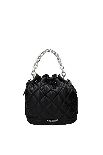 Handtasche Moschino Damen Polyamid Schwarz und Silber 2A751682062555 Schwarz 17x24x27 cm thumbnail