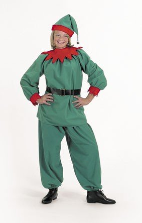 Christmas Elf Velour Costume Suit Child Size 4-10