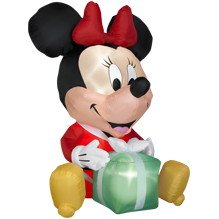 6ft airblown inflatable egg noggin disney minnie mouse 6 ft tall minnie mouse with a gift - Mickey Mouse Christmas Blow Up