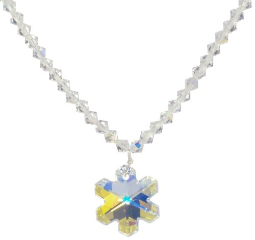 Sterling Silver Swarovski Elements Bicone and Snowflake Pendant Necklace, 16