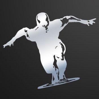 Silver Surfer Surfboard... Chrome Mirror (07 X 5.7 inch) ZK3W8
