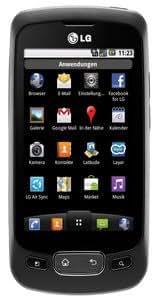 LG P500 OPTIMUS One Smartphone (Android 2.2, 3 MP Kamera, 8.1cm (3.2 Zoll) Touchscreen, 2GB Speicherkarte, 3.5mm Klinkenbuchse)  schwarz