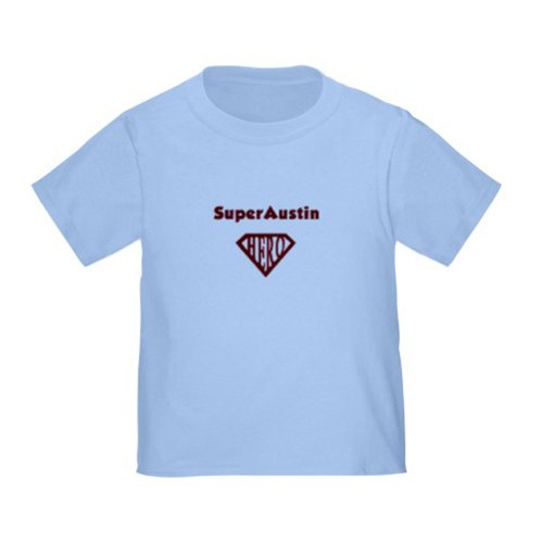 Personalized Superaustin Austin Superman Super Hero Baby Infant Toddler Kids Shirt - Customize With Any Boy Or Girls Name, Christmas Present Custom Superhero Gift Collection front-897163