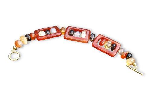 Gem Lady Smokey Quartz, Carnelian and Citirine Bracelet with Carnelian Squares