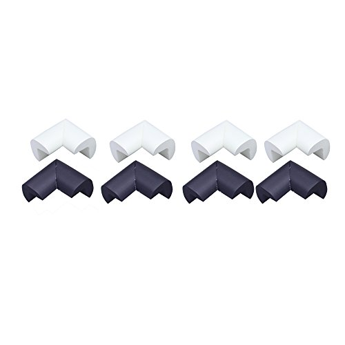 8 Pieces Baby Home Safety Furniture Table Edge Corner Guard Protector,4 White + 4 Black Corner Cushions