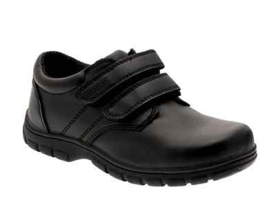 NEW KIDS BOYS BLACK SCHOOL SHOES DOUBLE VELCRO FORMAL FAUX LEATHER SIZES 7 - 1 junior